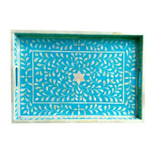 Hand CraftedBlue Floral Bone Inlay Serving Tray For Sale