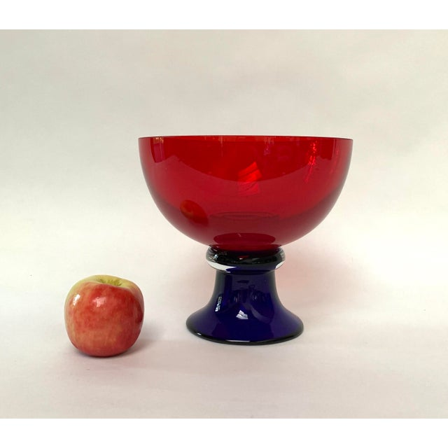 Memphis Style Footed Glass Bowl For Sale - Image 9 of 10