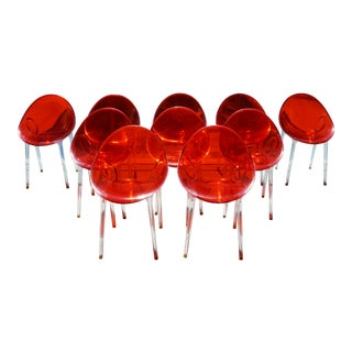 Kartell Outdoor Mr Impossible Transparent Red Orange Resin Dining Chairs - a Pair For Sale