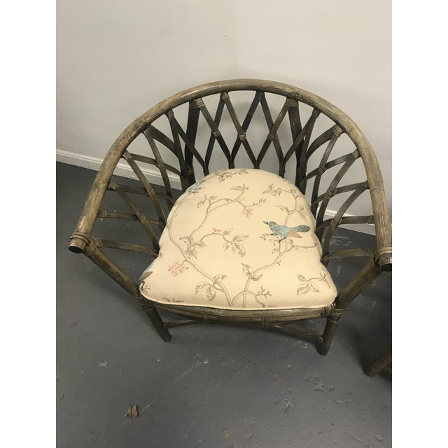 Boho Chic 1970s Hatched Rattan Chairs - a Pair For Sale - Image 3 of 6
