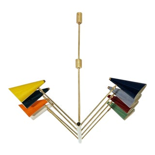 Mid-Century Multi Colored Chandelier For Sale