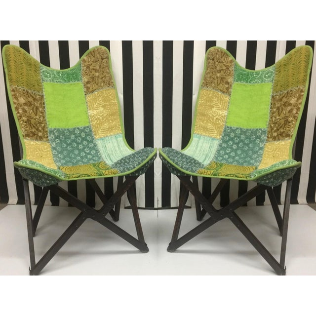 Late 20th Century Vintage Handcrafted Sling Back Folding Chairs - a Pair For Sale - Image 5 of 5