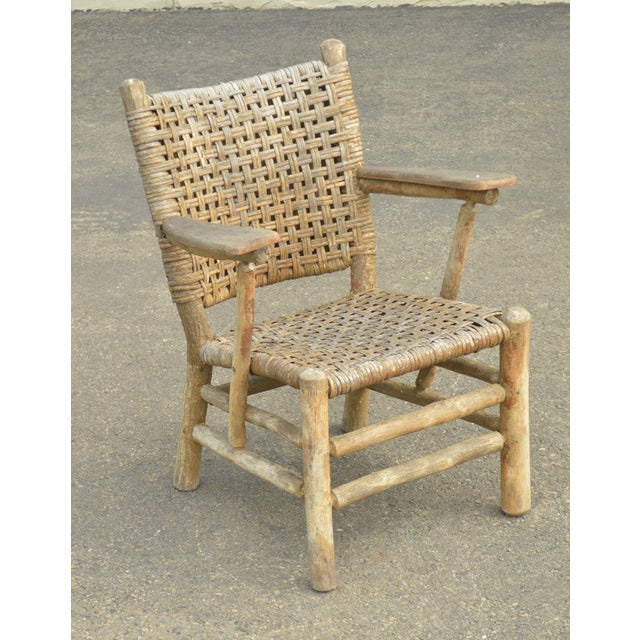 Wood Old Hickory Antique Rustic Armchair & Rocker For Sale - Image 7 of 12