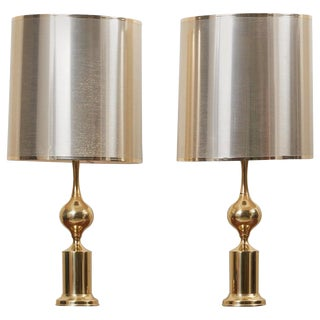Huge Pair of Hollywood Regency Design Table Lamps in Brass With Metallic Shade For Sale