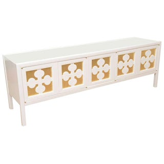 White Lacquered and Gold Leaf Low Long Console or Cabinet For Sale
