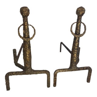 Sculpted Bronze Andirons in the Manner of Giacometti - a Pair For Sale