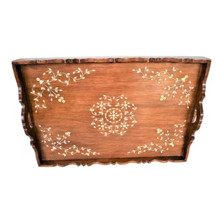 Vintage Moroccan Serving Tray With Inlay Bone Design For Sale