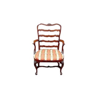 Late 18th Century Carved Mahogany Ladder Back Armchair For Sale