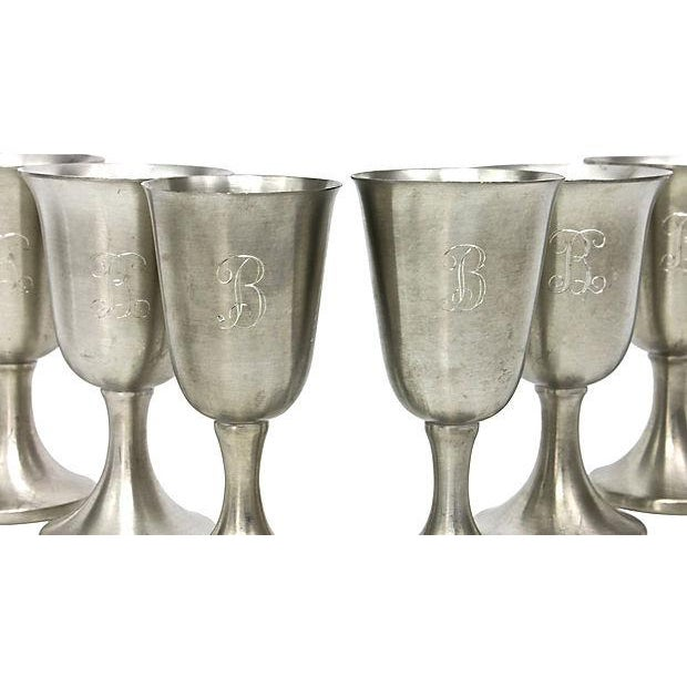 """Early 20th Century Small """"B"""" Monogram Pewter Liquor Chalices - Set of 8 For Sale - Image 5 of 6"""