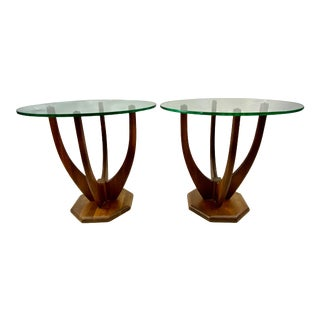 Mid-Century Adrian Pearsall Style Sculptural Walnut Side Tables - a Pair For Sale