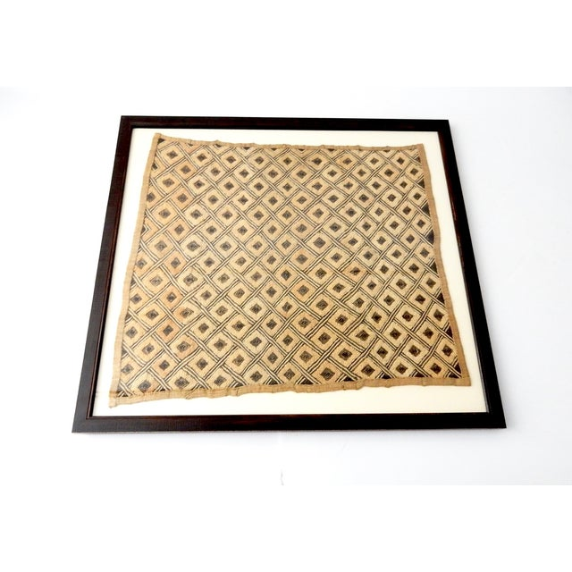 African Vintage Framed African Kuba Cloth For Sale - Image 3 of 9