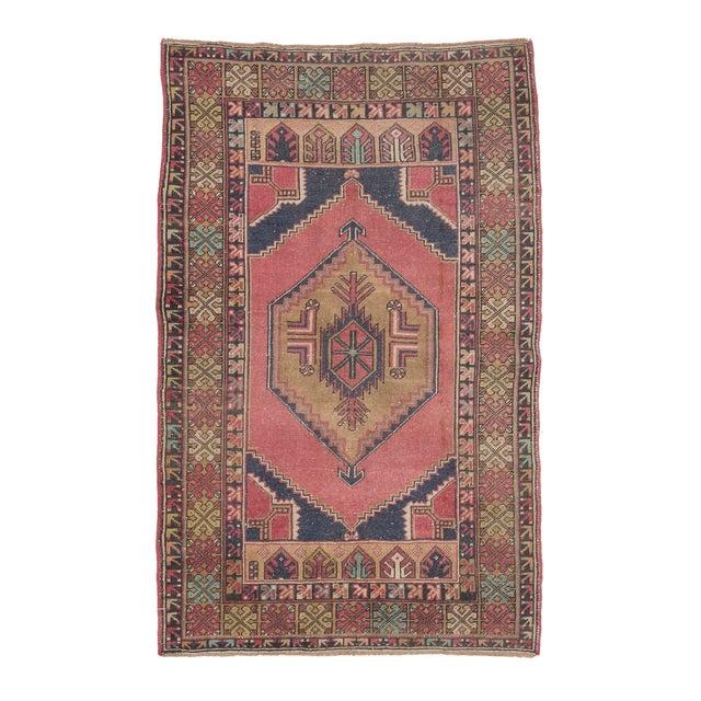 Vintage Decorative Turkish Area Rug- 3′8″ × 5′10″ For Sale