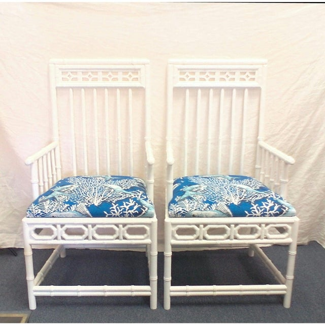 Chinese Chippendale Bamboo Arm Chairs - a Pair For Sale - Image 4 of 5