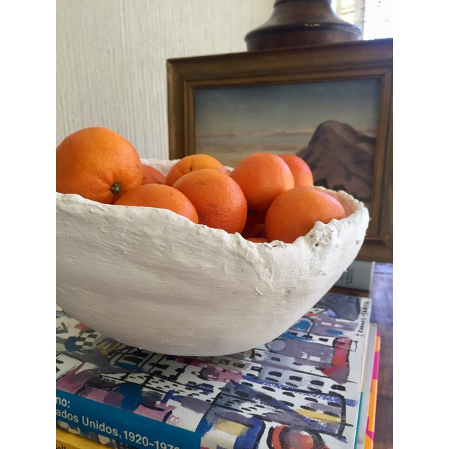 Modern White Raw Plaster Decorative Round Bowl For Sale In Los Angeles - Image 6 of 7