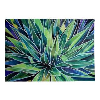 """Agave Abstracta"" Geoff Greene Acrylic on Paper Painting For Sale"