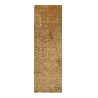 Contemporary Hand Knotted Cordoba Design Green and Bronze Wool and Silk Rug - 3′ × 9′7″ For Sale