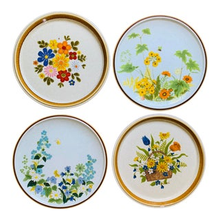 Mismatched Vintage Mikasa Yellow Green and Blue Floral Dinner Plates - Set of 4 For Sale