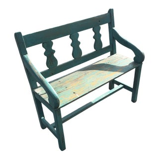 Distressed Turquoise Antique Santa Fe Bench For Sale