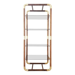 Mid-Century Modern Wood and Brass Etagere For Sale