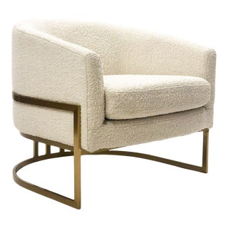 Modern Boucle Barrel Chair with Brass Base For Sale