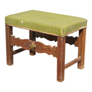 Vintage French Country Green Vinyl Bench With Decorative Nails Farmhouse Chic For Sale