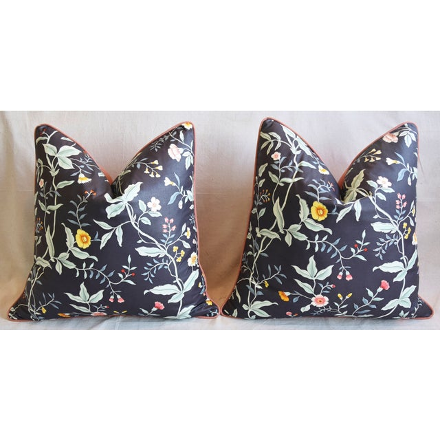 """Designer Clarence House Floral Fabric Feather/Down Pillows 23"""" Square - Pair For Sale In Los Angeles - Image 6 of 13"""