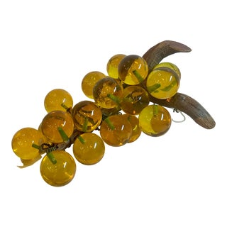 Vintage Mid Century Gold Lucite Grape Figurine For Sale