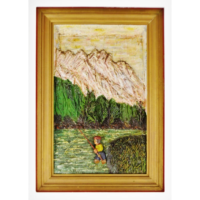 Vintage Folk Art Bas Relief Wood Carving of Man Fishing by C.J. Le Poidevin For Sale - Image 11 of 11
