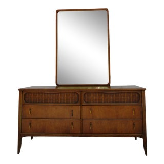 Mid-Century Modern Lane Furniture 6-Drawer Dresser With Woven Rattan Panels and Mirror For Sale