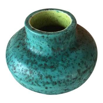 Vintage Chartreuse Green Stoneware Flower Vase For Sale