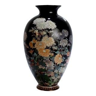 Antique Meiji Japanese Cloisonné Black Enamel Vase with Flowers and Butterflies For Sale