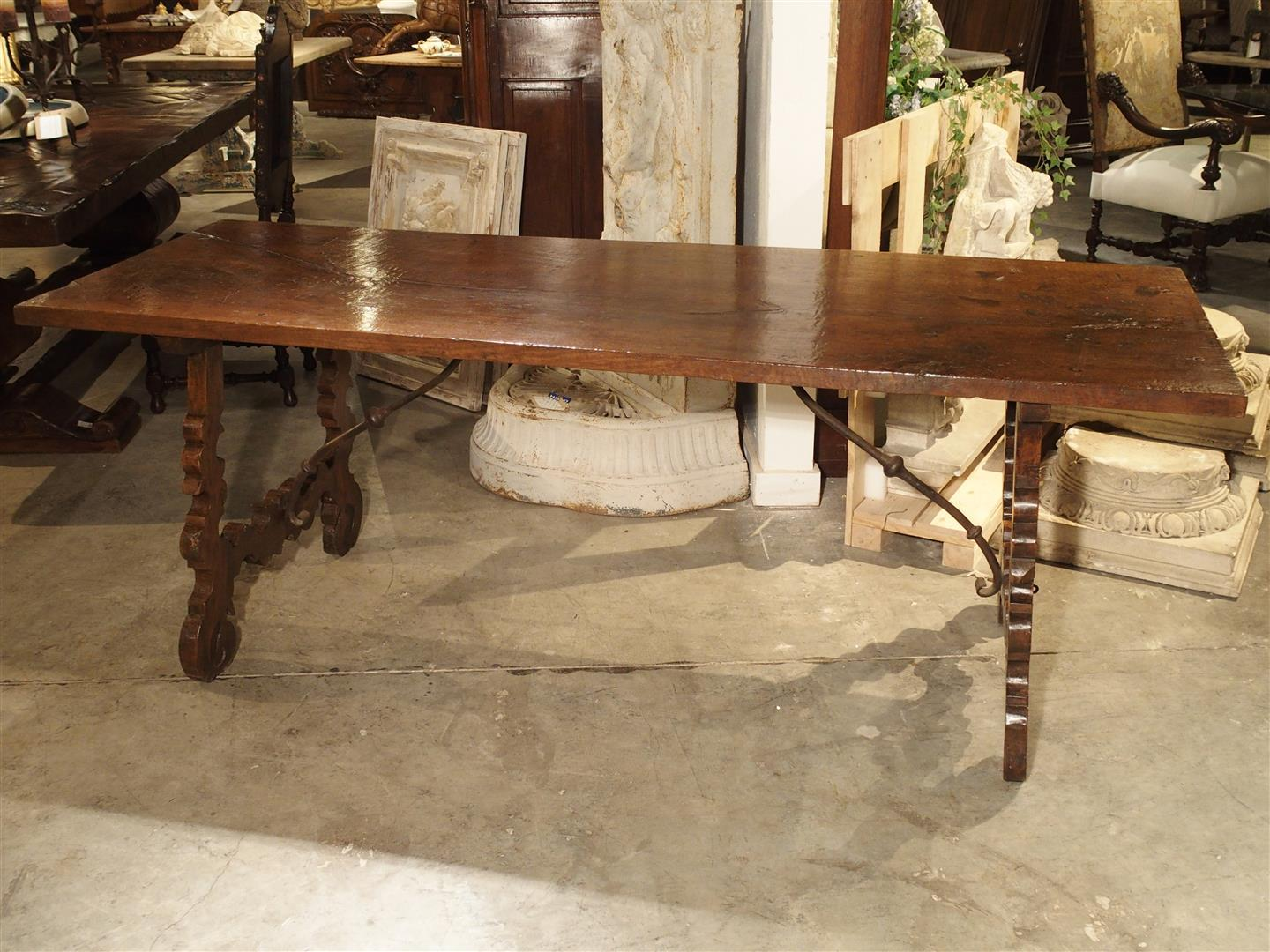Single Plank Oak And Walnut Wood Refectory Table From Spain, 18th Century    Image 10