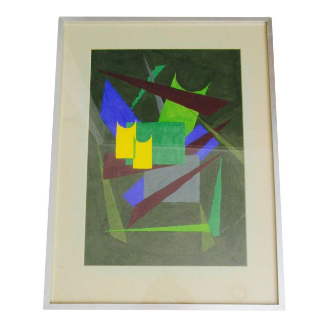 Abstract Geometric Acrylic Painting - Image 1 of 10