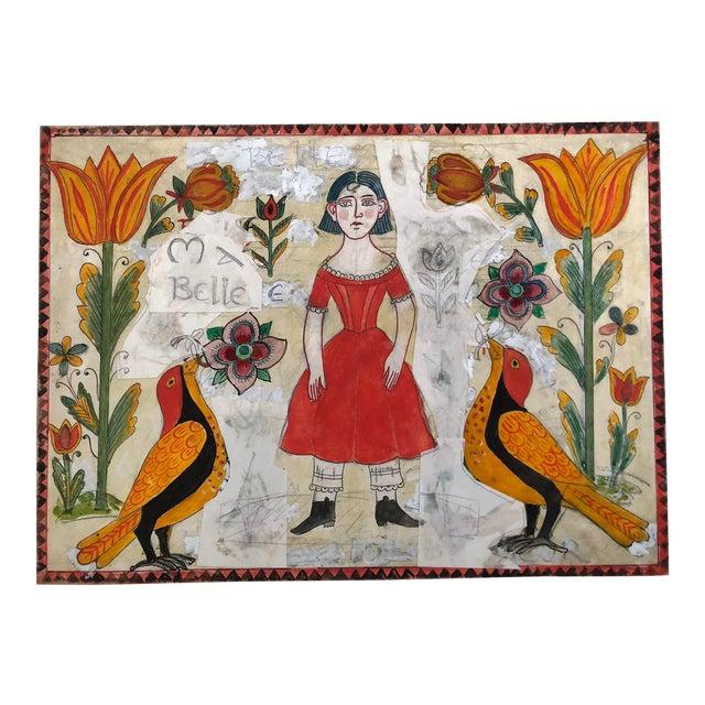 Vintage Folk Art Drawing Collage. For Sale