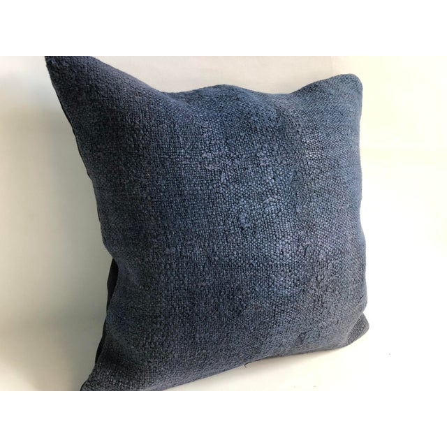 Islamic Turkish Anatolian Tribal Handwoven Blue Kilim Pillow Cover For Sale - Image 3 of 6