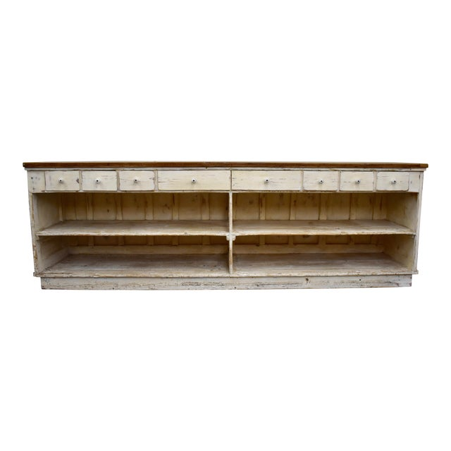 Massive Vintage Painted Pine and Oak Store Counter For Sale