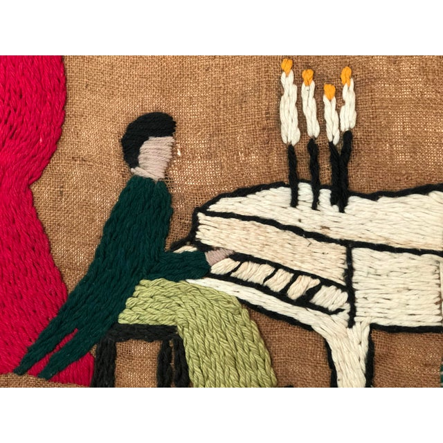 Mid-Century Embroidered Tapestry of Musicians For Sale - Image 4 of 13