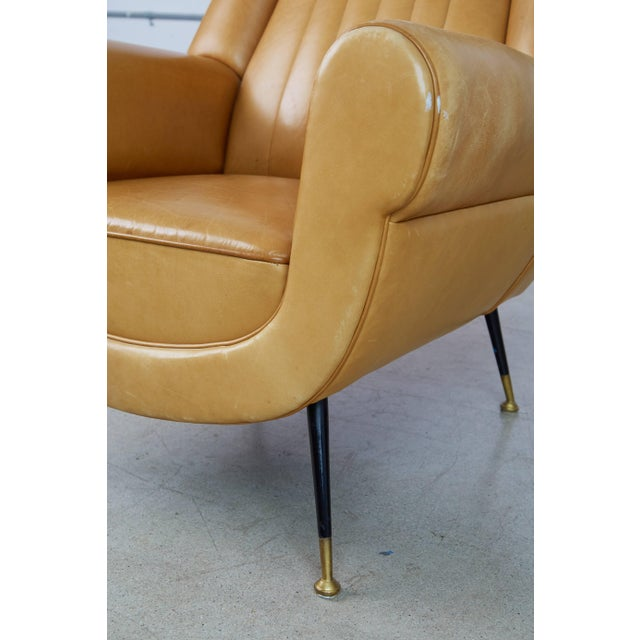 Animal Skin 1960s Vintage Gigi Radice for Minotti Italian Leather Wingback Chairs- A Pair For Sale - Image 7 of 10
