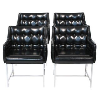 Milo Baughman Leatherette & Chrome Game Chairs - Set of 4 For Sale
