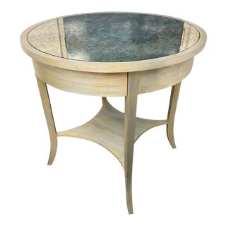 Niermann Weeks Round Parquet Side Table For Sale