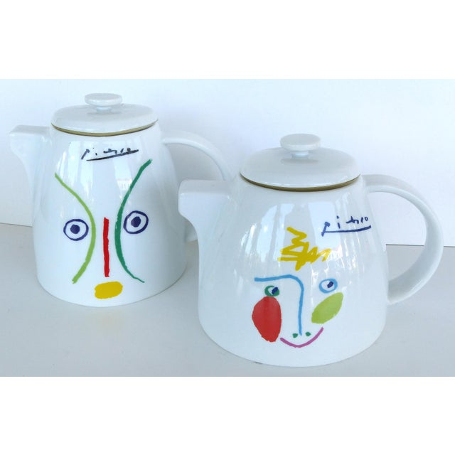 Offered for sale is a 4 piece Picasso coffee, tea luncheon set from 1961. The set was manufactured for MMI by Porcellane...