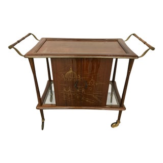 Mahogany Rolling Bar Cart Made in Italy For Sale