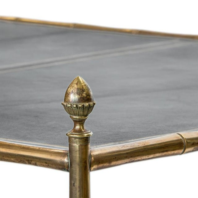 Regency A Rare Oversized Jansen Brass and Leather Coffee Table on Faux Bamboo Brass Base For Sale - Image 3 of 5