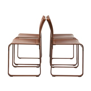 MatteoGrassi Leather Wrapped Game Chairs - Set of 4 For Sale