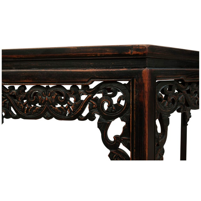 Sarreid Ltd Asian Carved Wood Console Table - Image 2 of 5