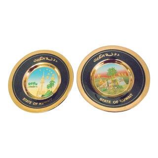 Art of Chokin Japanese Plates - A Pair For Sale
