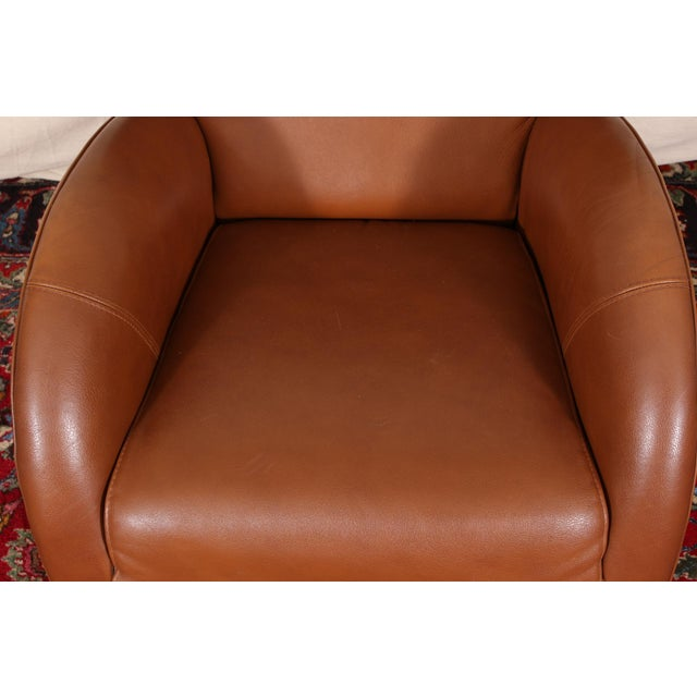Vintage Molinari Tan Leather Armchair For Sale - Image 9 of 11