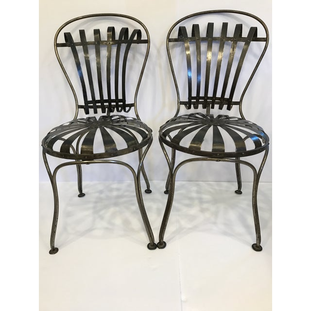 Black Black Metal Antique French Cafe' Chairs - a Pair For Sale - Image 8 of 8