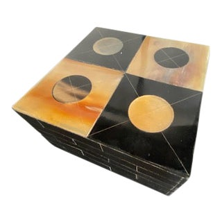 Global Views Black and Caramel Horn Box For Sale