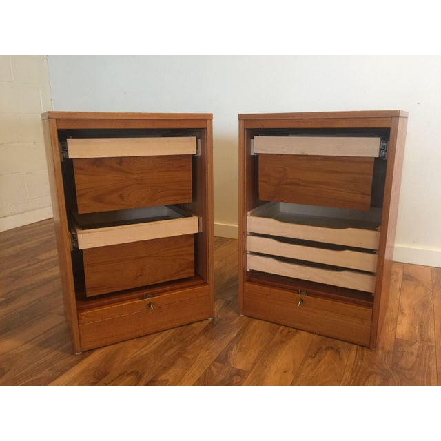 Danish Modern Teak Tambour Doors Filing Cabinets - A Pair For Sale - Image 4 of 10
